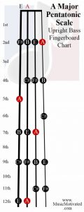 A Pentatonic Scale upright double bass fingerboard notes chart
