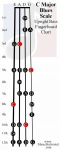 C Blues scale upright double bass fingerboard notes chart