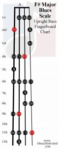 F sharp Blues scale upright double bass fingerboard notes chart