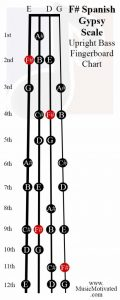 F sharp spanish scale upright double bass fingerboard notes chart