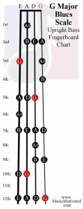 G Blues scale upright double bass fingerboard notes chart