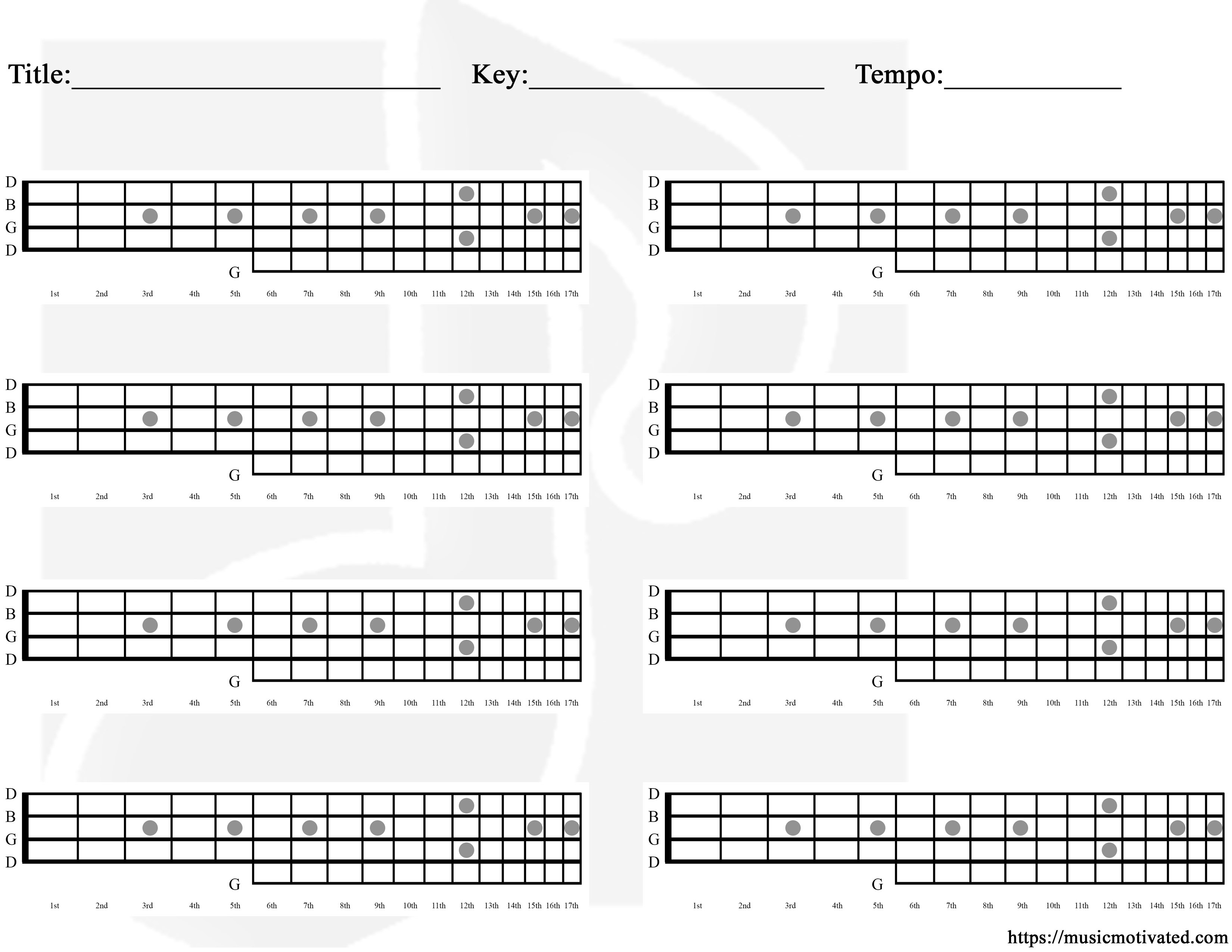 Blank chord tabs for all instruments blank banjo chords tab hexwebz Images