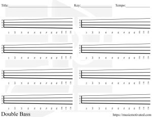 Blank double upright bass chord chart