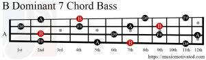 B Dom7 chord Bass