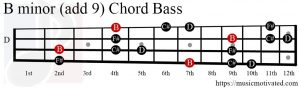 B minor (add 9) chord Bass