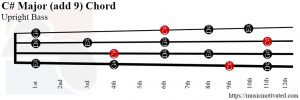 C# Major add 9 Upright Bass chord