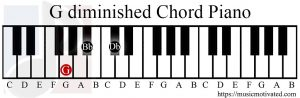 G diminished chord piano